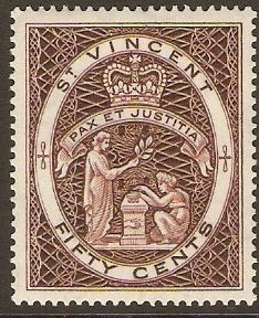 St. Vincent 1955 50c red-brown. SG198.