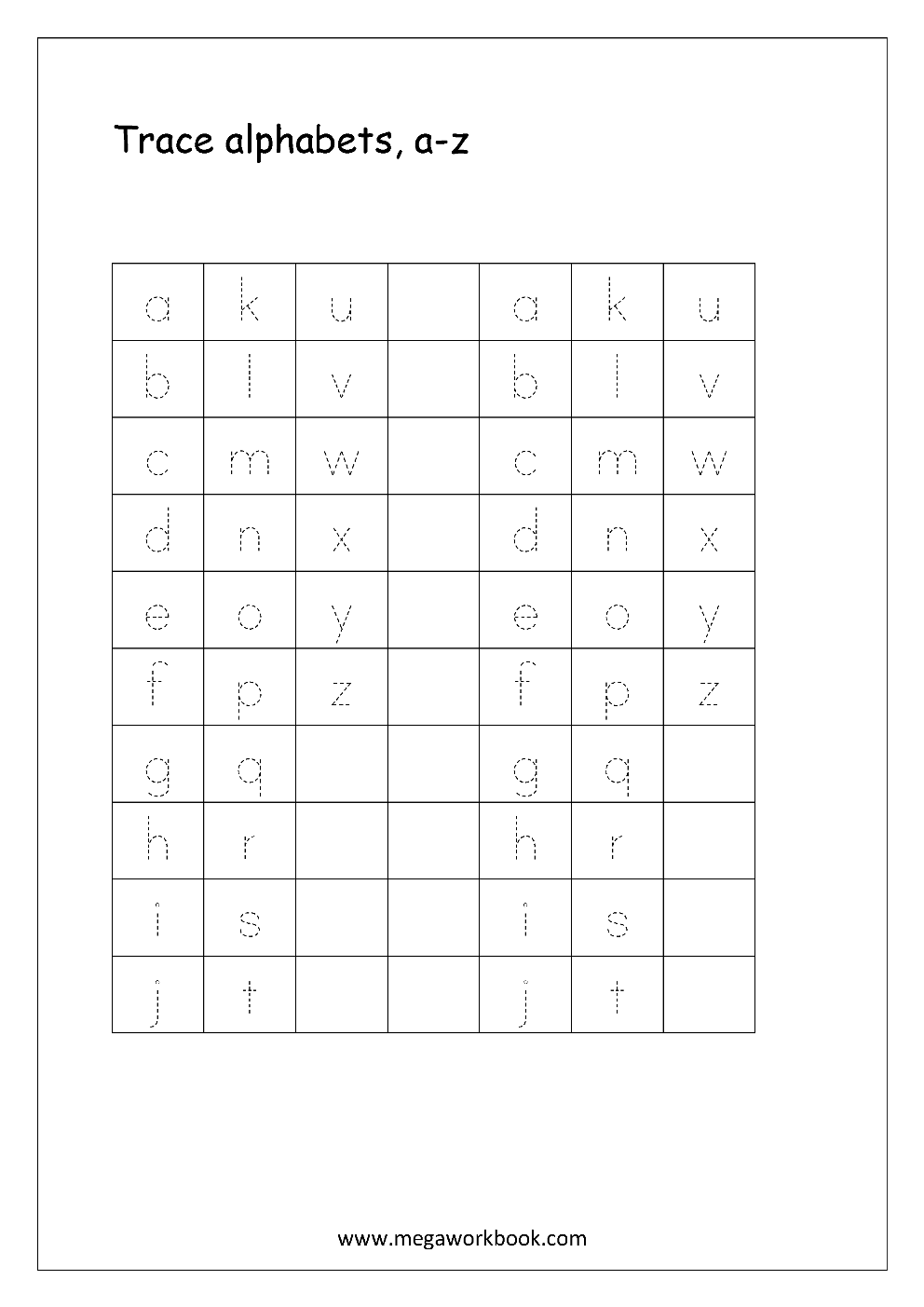 English Worksheet Alphabet Tracing