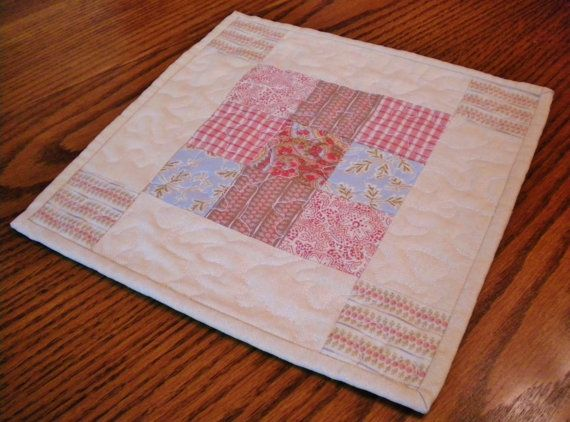 Quilted Snack MatQuilted Mug RugMug Rug by SharleesQuiltCottage
