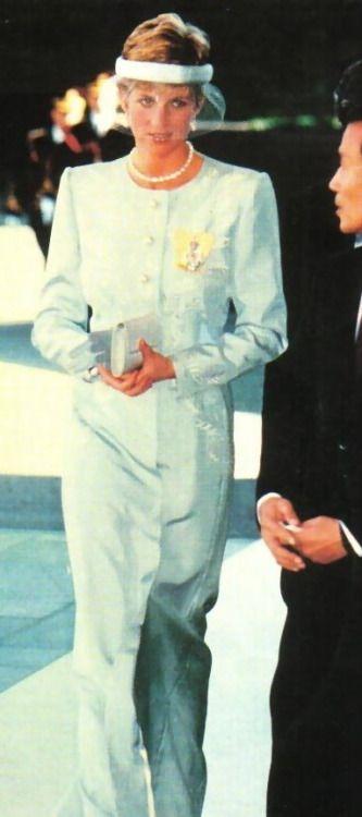 Princess Diana Visiting Japan. In an interesting head piece.