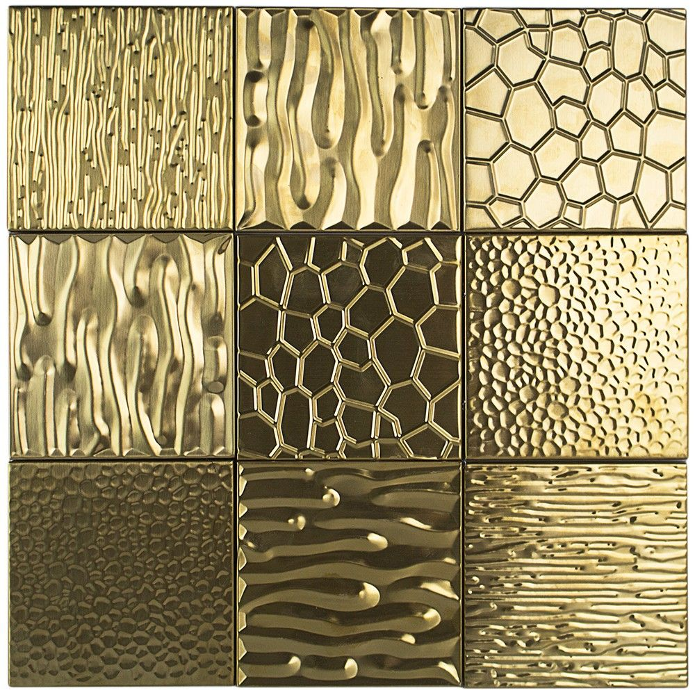 Metal Etched Gold Stainless Steel 4x4 Tiles Gold Tile Tile Wall Art Stainless Steel Tile