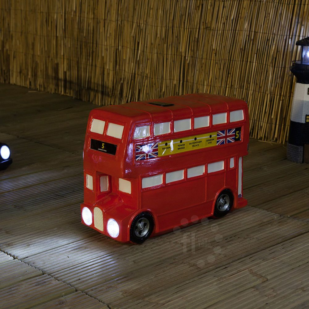 SOLAR POWERED LED LONDON BRITISH RED DOUBLE DECKER BUS GARDEN DECOR ...