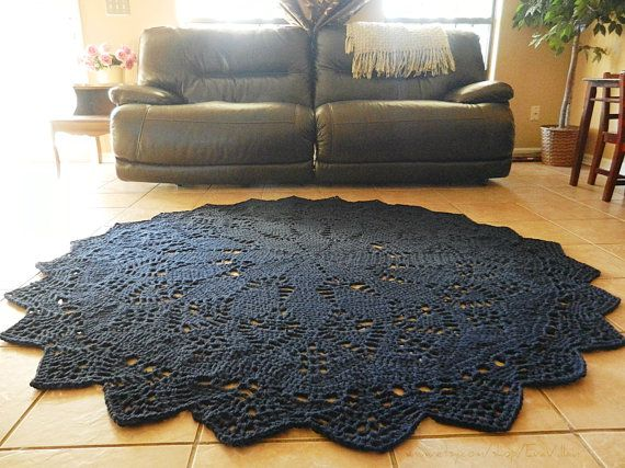 Crochet Doily Rug Navy Blue Shabby Chic French Country Round