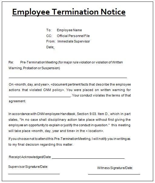Job Termination Notice Template sampleformatsorg Pinterest - sample termination letters