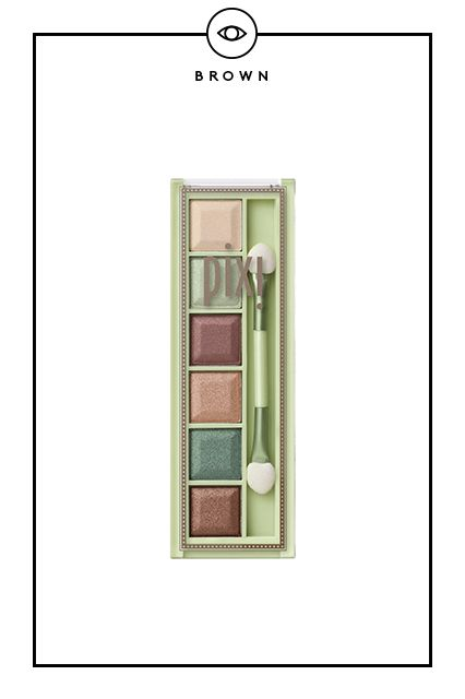 "The Best Palettes For Your Eye Color #refinery29  http://www.refinery29.com/eye-makeup-tips#slide2  ""If I want to make brown eyes look lighter, I'll use mossy green tones,"" says Luna. Pixi Mesmerizing Mineral Palette in Emerald Gold, $12, available at Pixi."