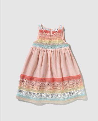 51655e72b Vestido de niña Bass 10 en rosa con puntilla | little girl 4 ...