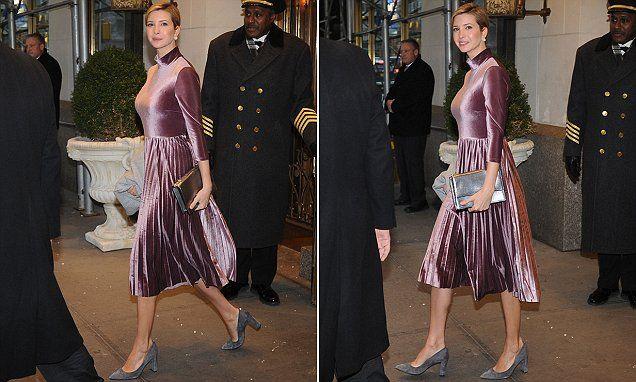 Ivanka Trump shows off her glamorous velvet dress and bare legs