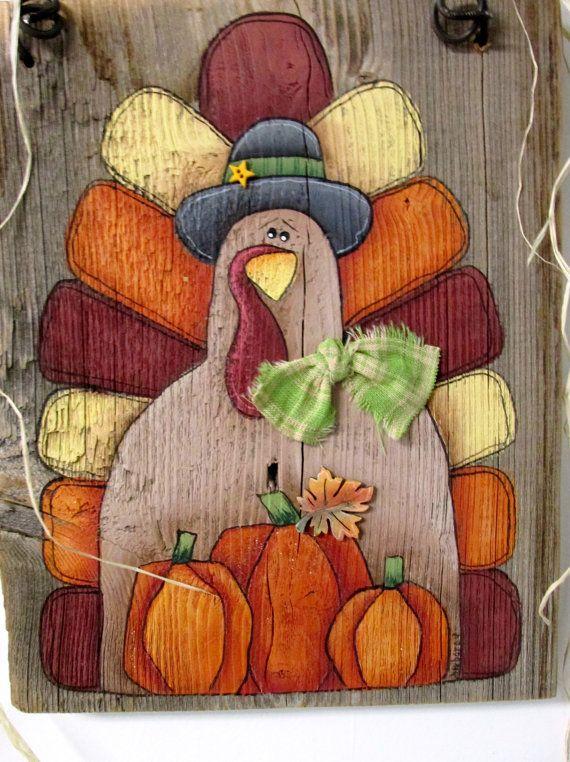 Pumpkins And Turkey Hand Painted On Reclaimed Barn Wood