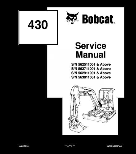 Bobcat 430 compact excavator service repair manual