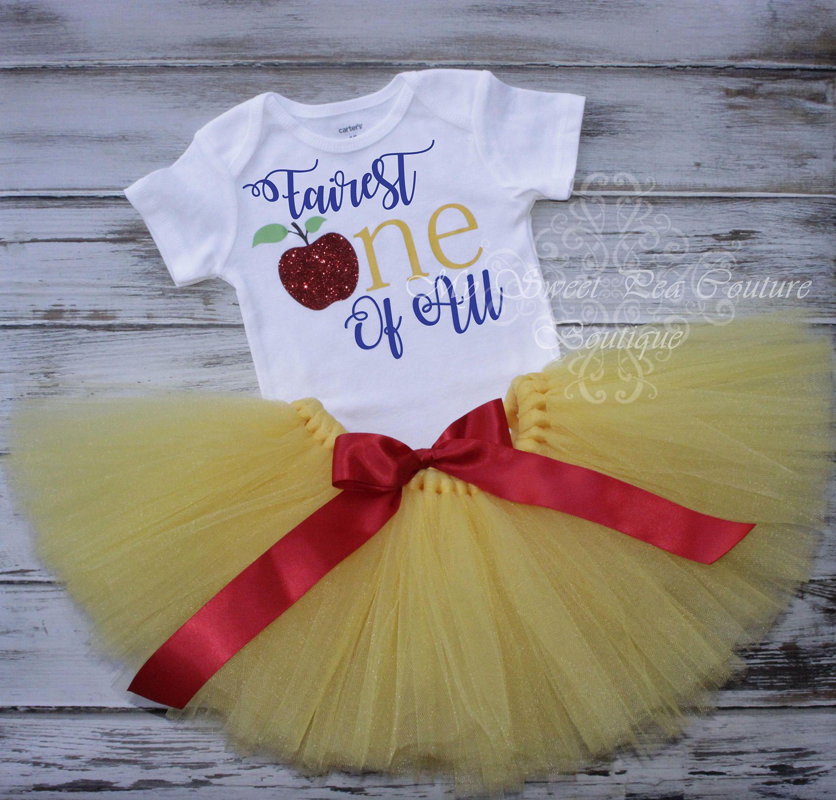 9b645fdab Snow White First Birthday Tutu Outfit- Cake Smash Outfit- Fairest ...