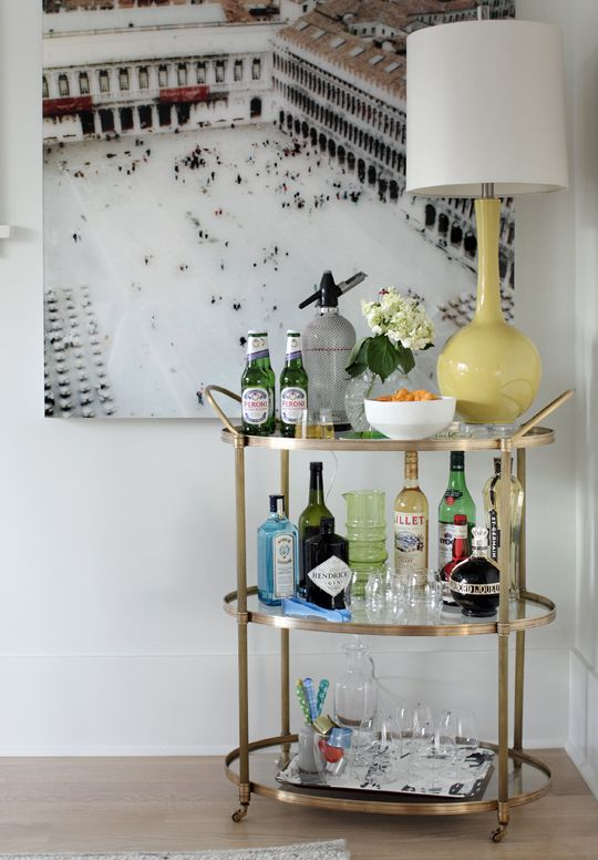 Unique Vintage Gold Bar Cart