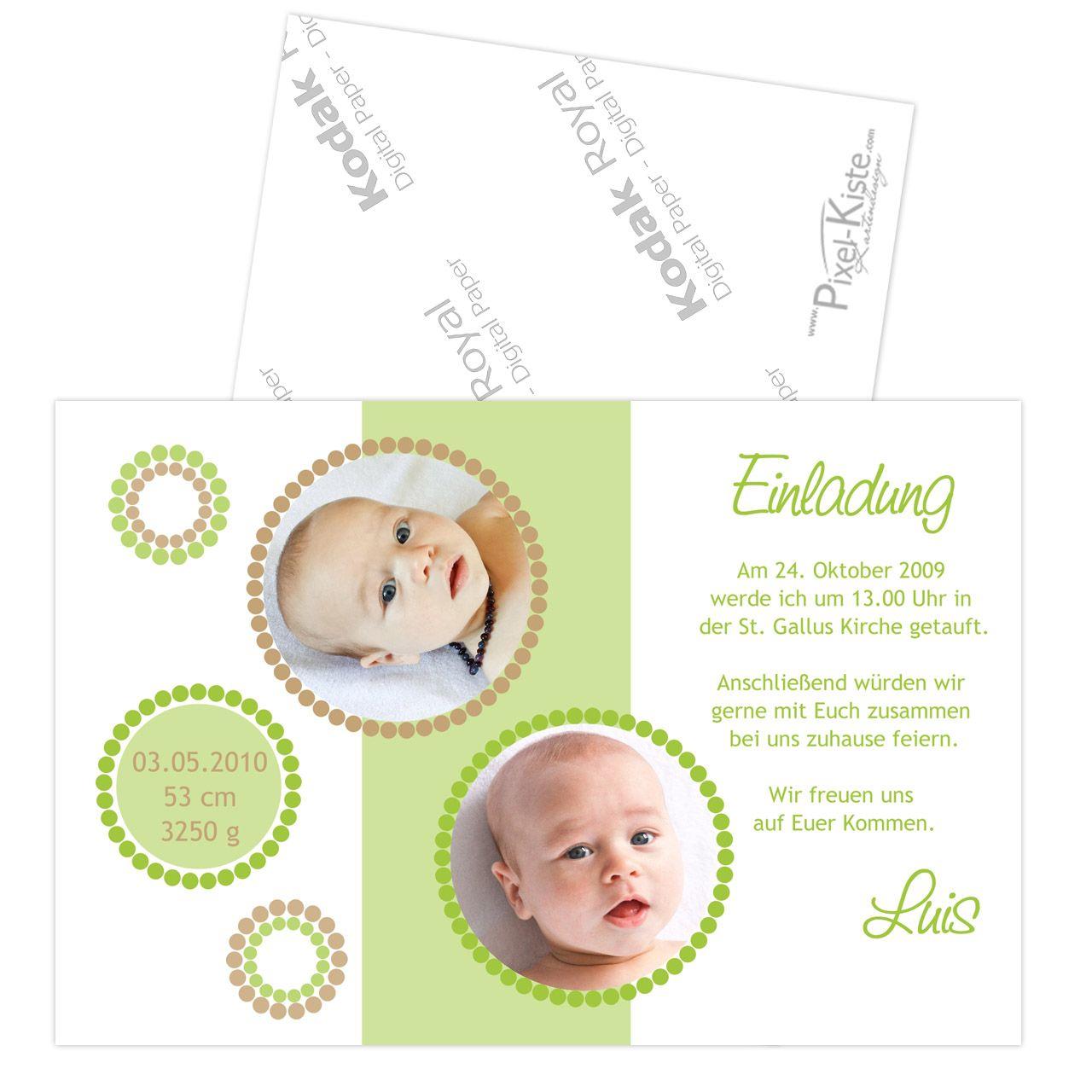 Einladungskarten Zur Taufe Mit Foto Luisa/Luis