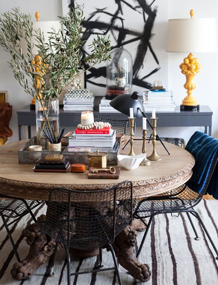 15 Eclectic Dining Rooms The Fox She Chicago Fashion Blog Eclectic Dining Room Eclectic Dining Round Wood Dining Table