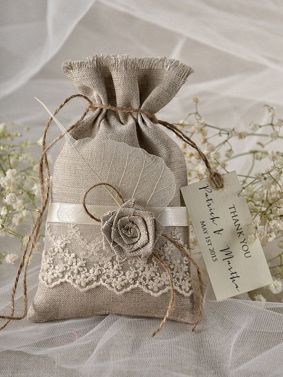 Rustic Wedding Favor Bag Lace Bags Thank You Linen Gift
