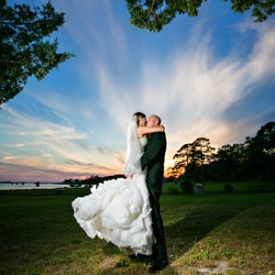 Amazing sunset for this Florida Destination Wedding at the Soundside Club.  tPoz Photography