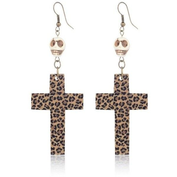 River Island Brown leopard cross and skull earrings ($11) ❤ liked on Polyvore