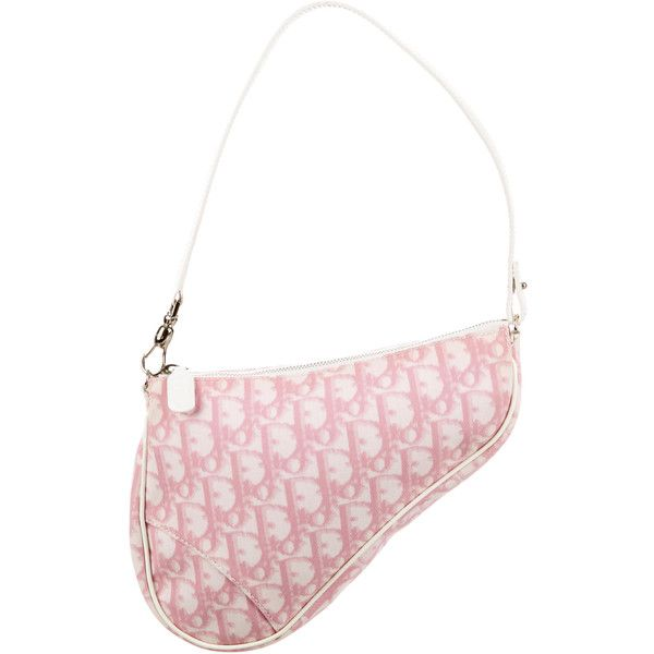 724b953f68e Pre-owned Christian Dior Diorissimo Saddle Bag ($195) ❤ liked on Polyvore  featuring bags, handbags, shoulder bags, pink, white handbags, canvas man  bag, ...