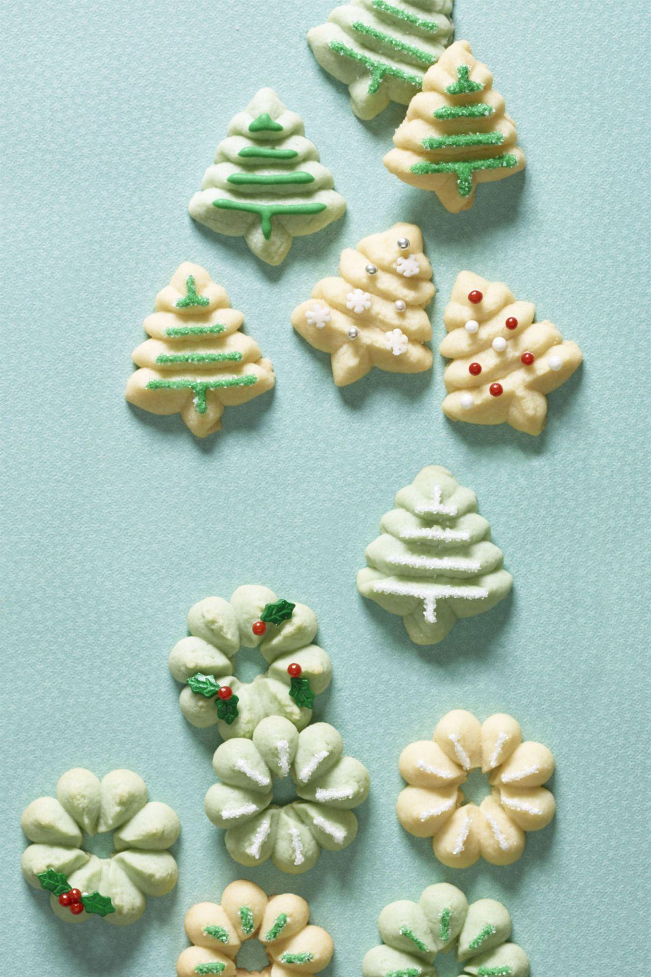 Cream Cheese Spritzes Recipe Cream Cheese Spritz Cookies Christmas Biscuits Christmas Tree Cookies