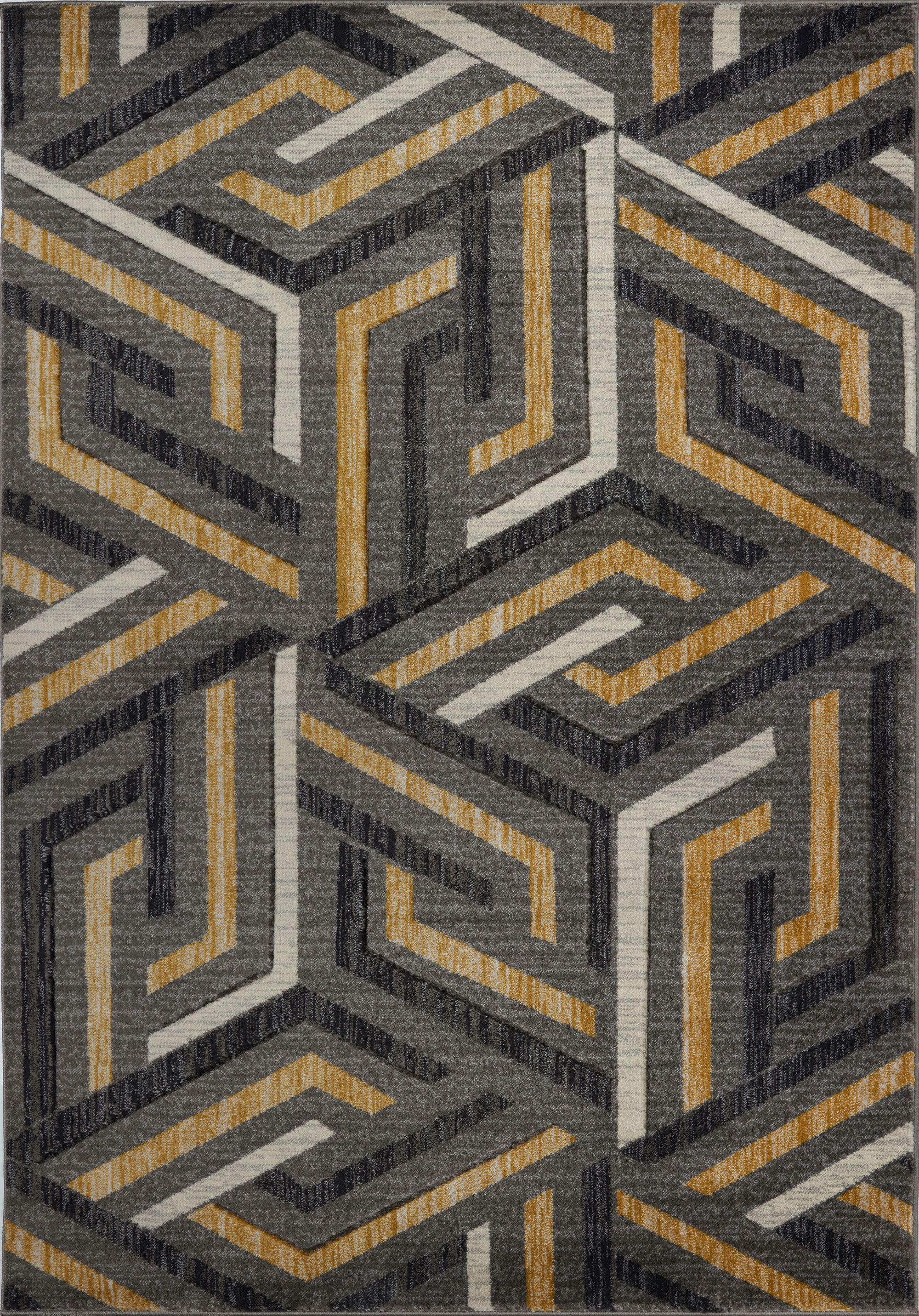 Lynn Valley Grey Gold Area Rug Gold Grey Honeycomb Hexagon