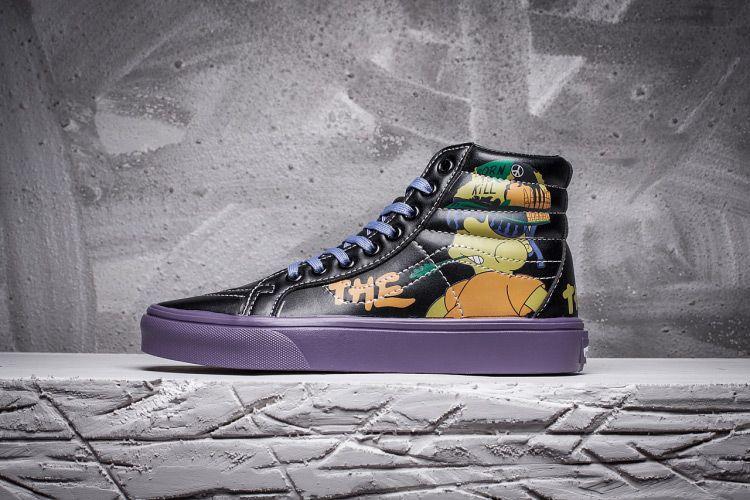 281451f4eef The Simpsons x Vans SK8 Hi Black Leather Skate Shoes  Vans