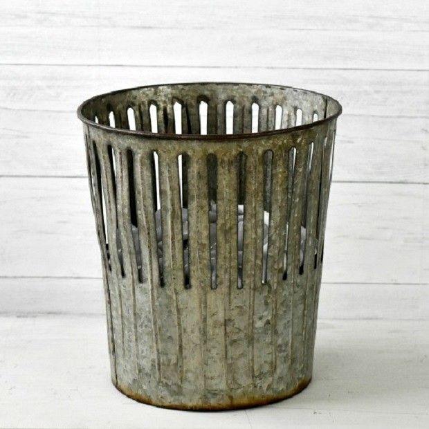 Galvanized Perforated Waste Basket Antique Farmhouse Bathroom Waste Basket Waste Basket Vintage Metal