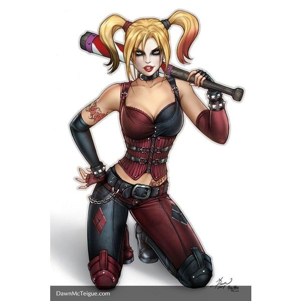 Arkham City Harley Quinn by Dawn-McTeigue ❤ liked on Polyvore featuring books and dragon