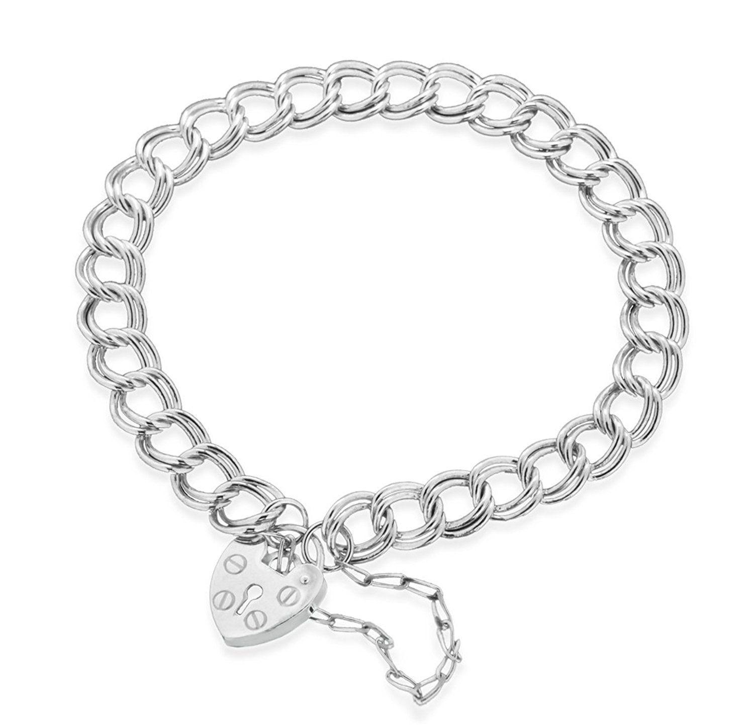 Tuscany Silver Sterling Silver Hearts and Stars Bracelet of 18cm/7 48jS38