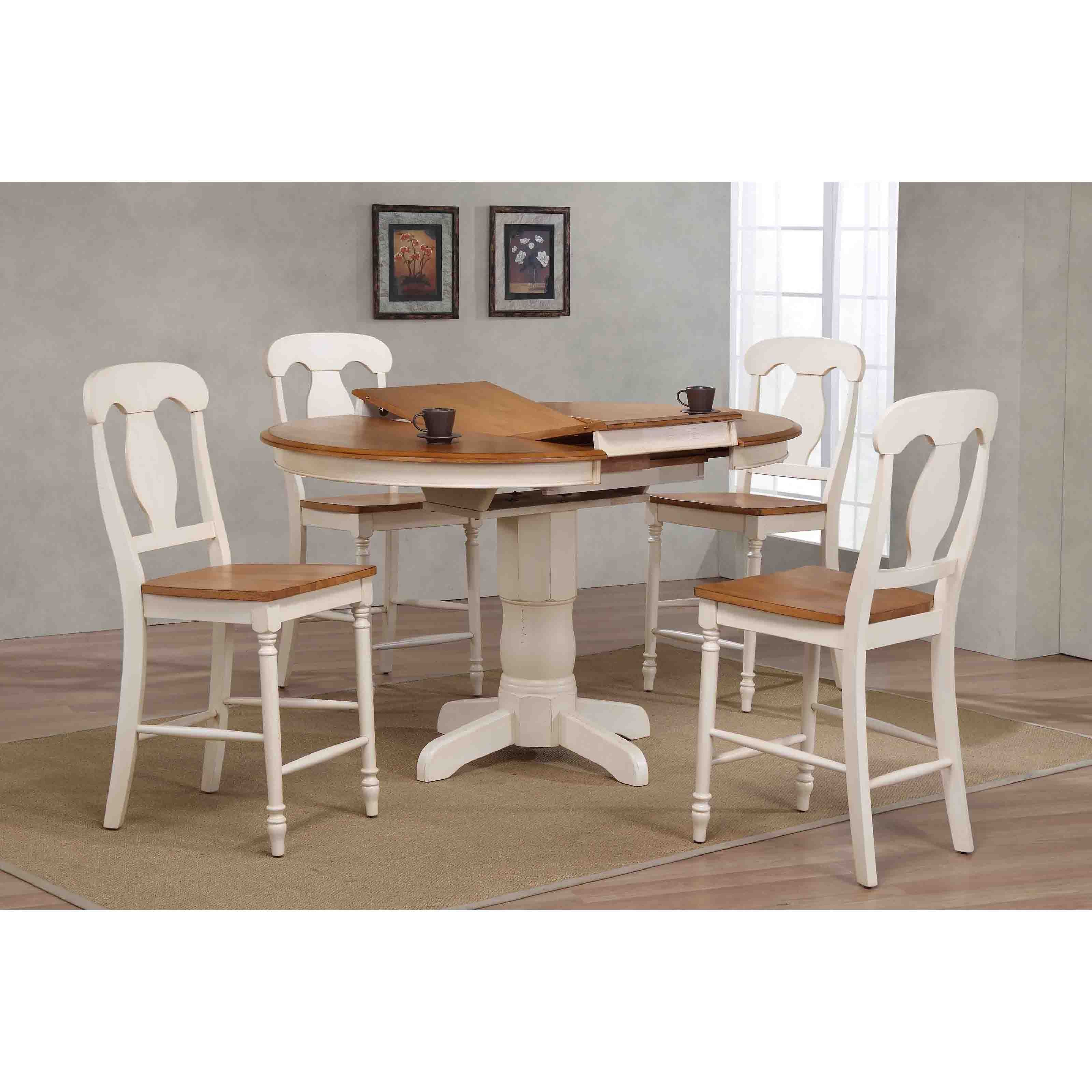 Iconic Furniture Napoleon Back 5 Piece Round Counter Height Dining Table Set    ICOC053