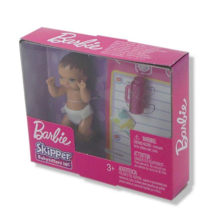 Barbie Skipper Doll Bottle Diaper Brown Hair Brown Eyes Mattel Babysitter Inc.