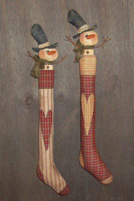 Prim Stocking with Snowman