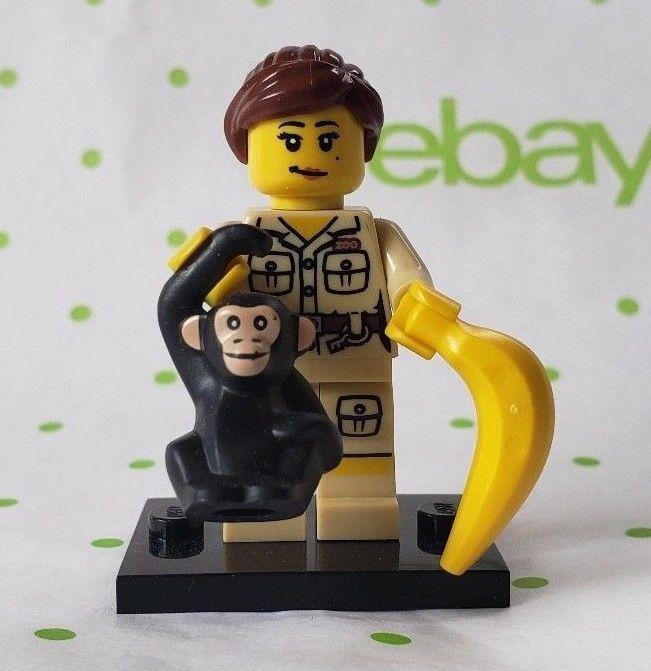 LEGO GIRL ZOO KEEPER WITH MONKEY MINIFIGURE # 7 SERIES 5  # 8805