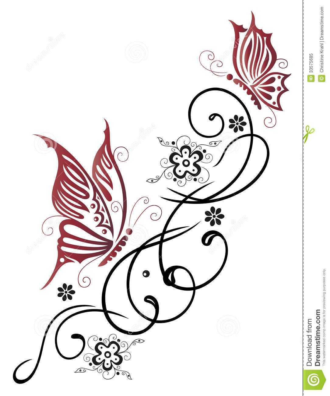 Flowers Butterfly Tendril Royalty Free Stock Photo