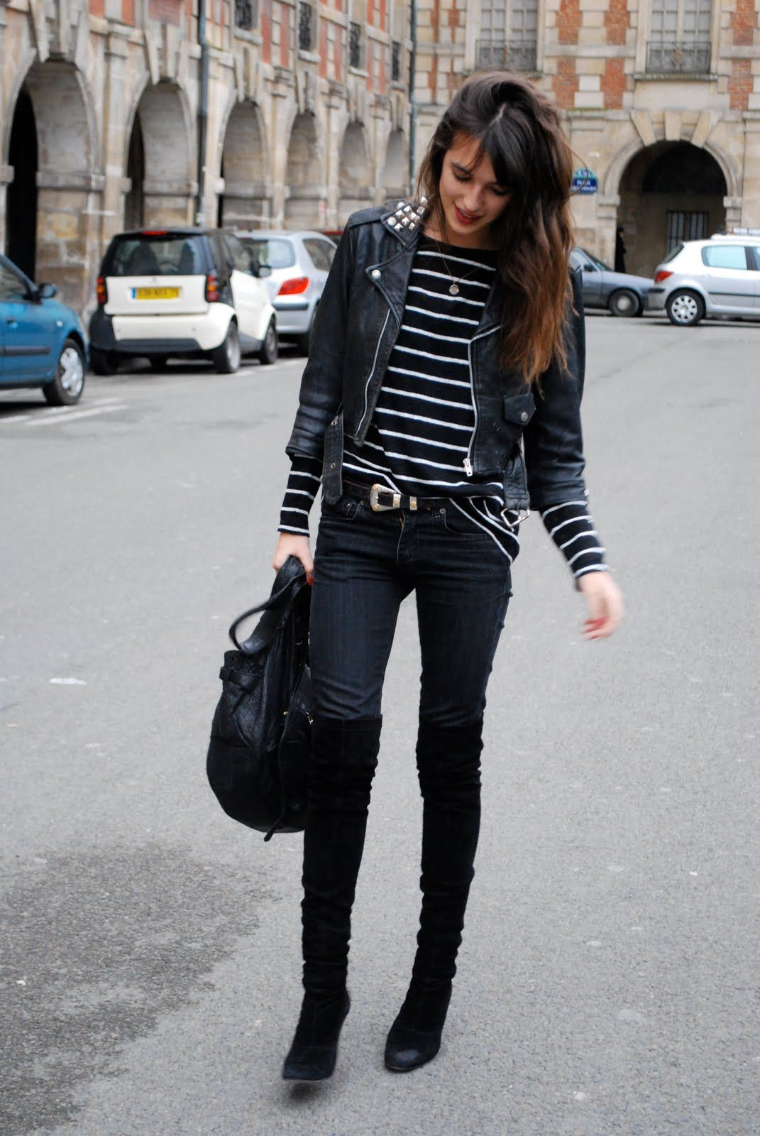 Lou - Love it all!! The stripes, suede over the knees, black leather jacket ♡♡
