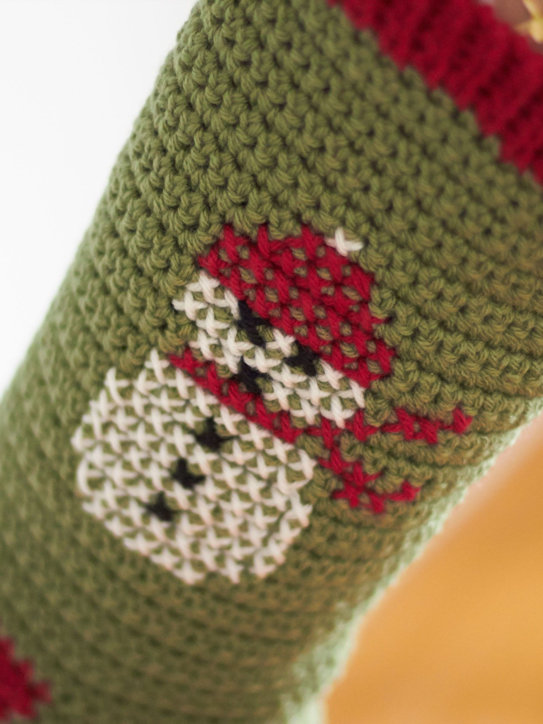 Yarnspirations bernat cross stitch christmas stockings free crochet stocking pattern with snowman wearing red hat and scarf bernat cross stitch christmas stockings yarnspirations bankloansurffo Image collections