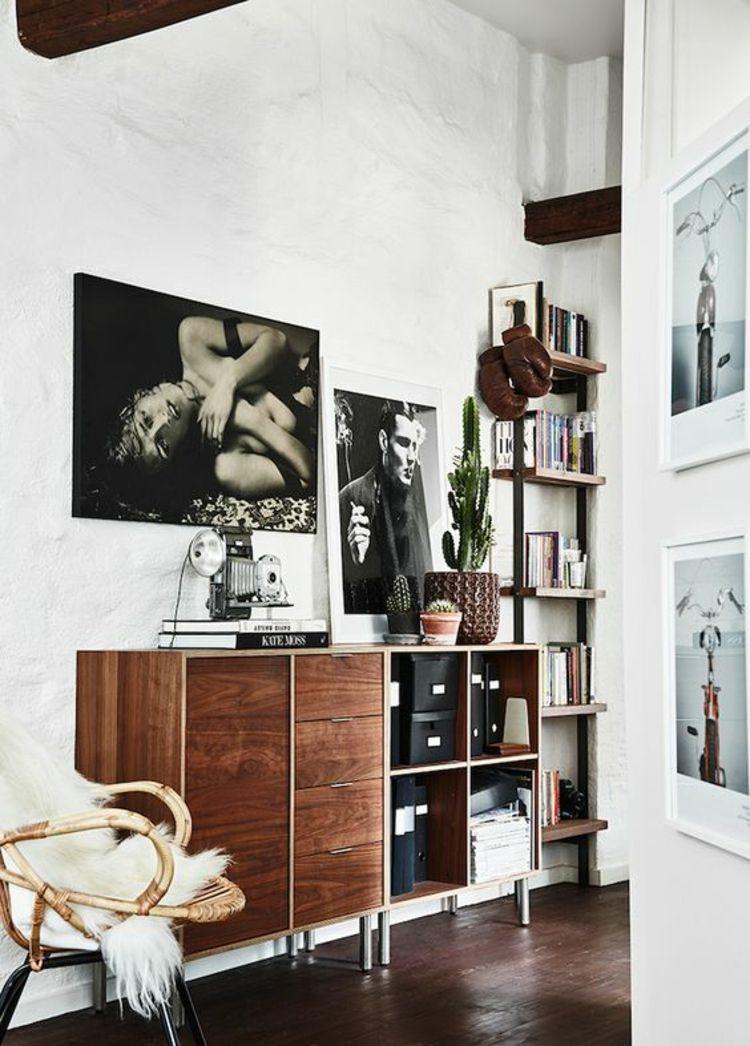 Retro Akzente Wohnzimmer Fotowand Gestalten