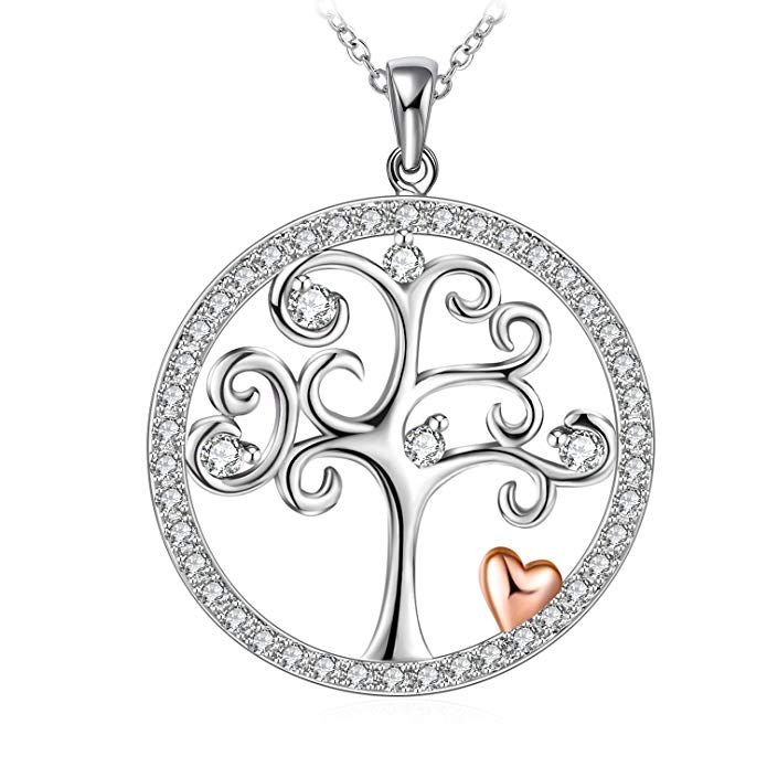 """J.Rosée Christmas Jewelry Gifts Packing Tree of Life Sterling Silver Disc Pendant 18"""" 2Silver Chain Necklace for Women Review"""