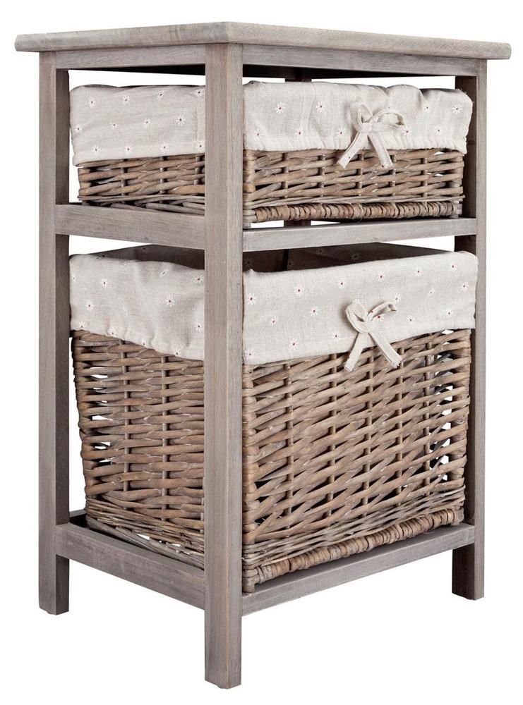 Grey Wood Storage Cabinet Willow Basket Organiser Bathroom Unit 2 Drawer Table Drawer Storage Unit Wood Storage Cabinets Small Drawer Unit