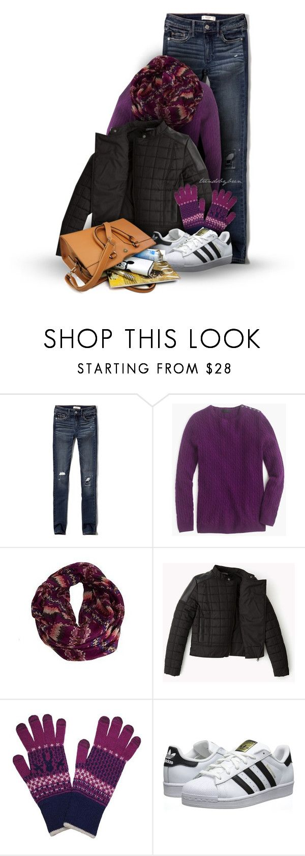 """Plum for winter"" by trendsbybren ❤ liked on Polyvore featuring Abercrombie & Fitch, J.Crew, Urban Outfitters and adidas Originals"