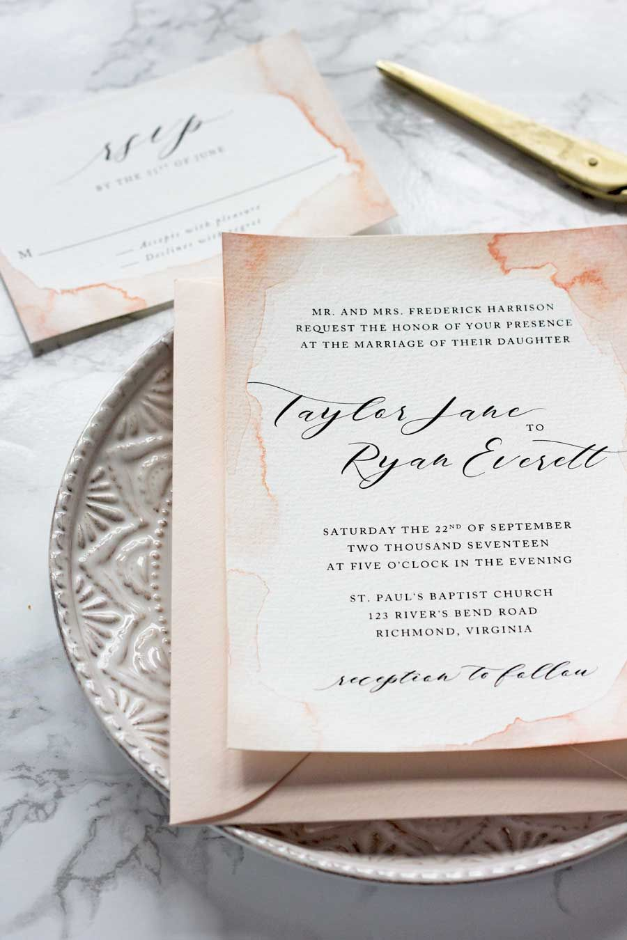 Subtle Watercolor Wedding Invitations How To Make Your Own