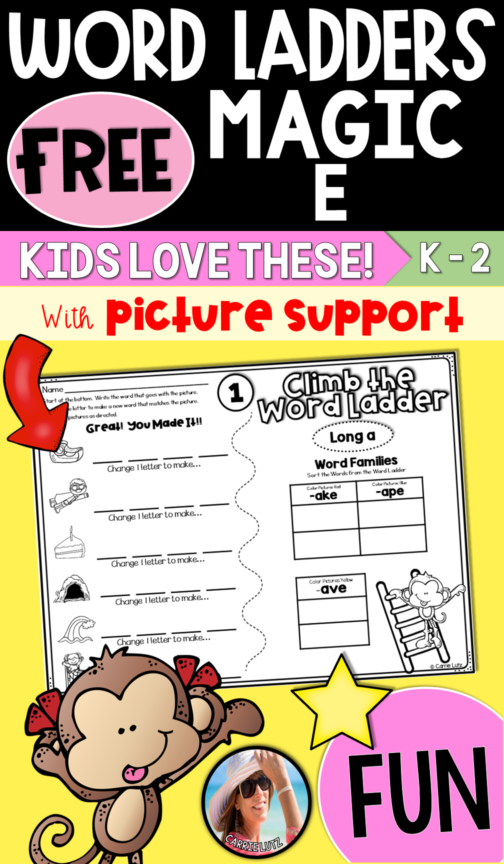 medium resolution of This Free Magic e Printable Worksheet / Activity makes learning FUN for  Kids in Kindergarten and First Grade. Ph…   Word ladders