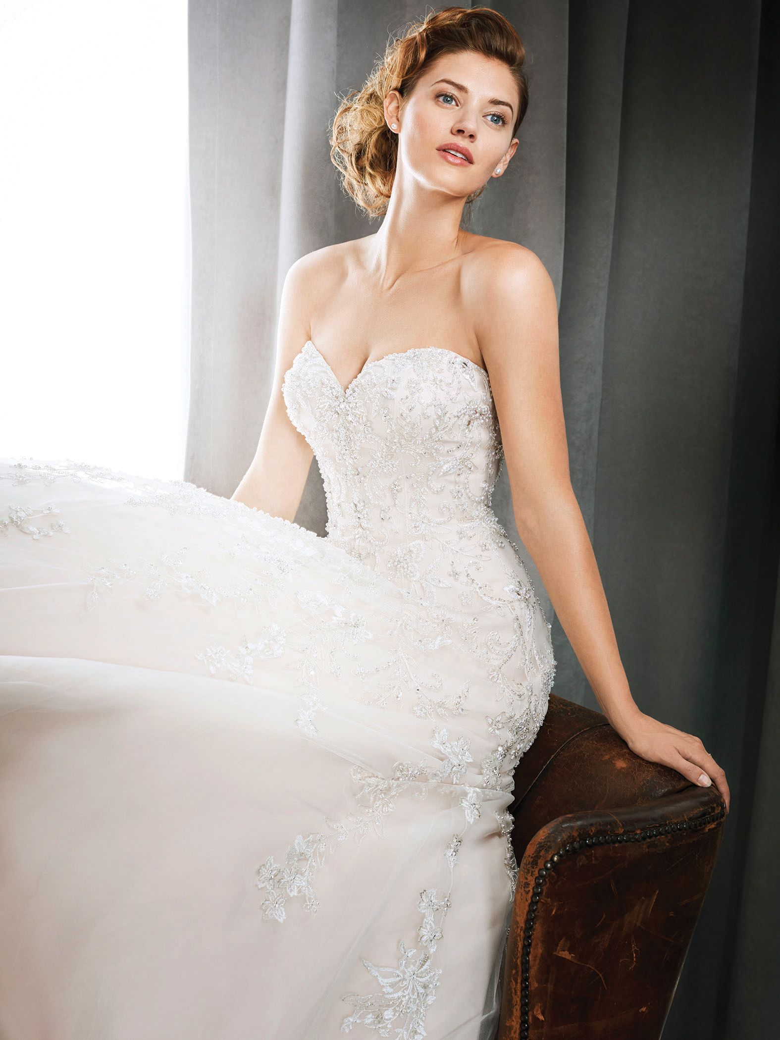 Kenneth Winston Style 1719 Strapless Beaded Gown With Illusion Corset Back In Pink Champagne Luxu Sparkly Wedding Dress Tight Wedding Dress Wedding Dresses