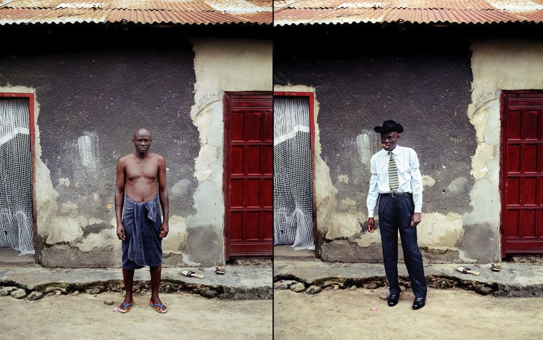 At left, Covary poses in front of his house after taking a bath. On the right side, he is ready to show off in the city.