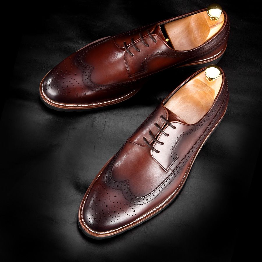 Hand Brush Off Leather Derby