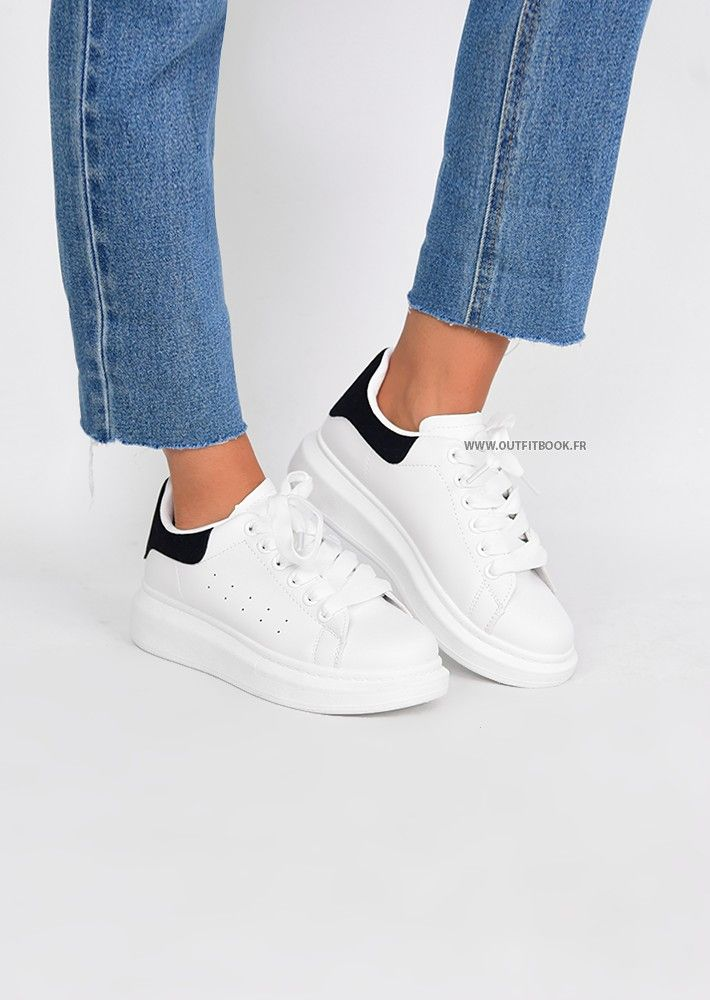 Platform sneakers in white and black | Adidas shoes stan smith ...