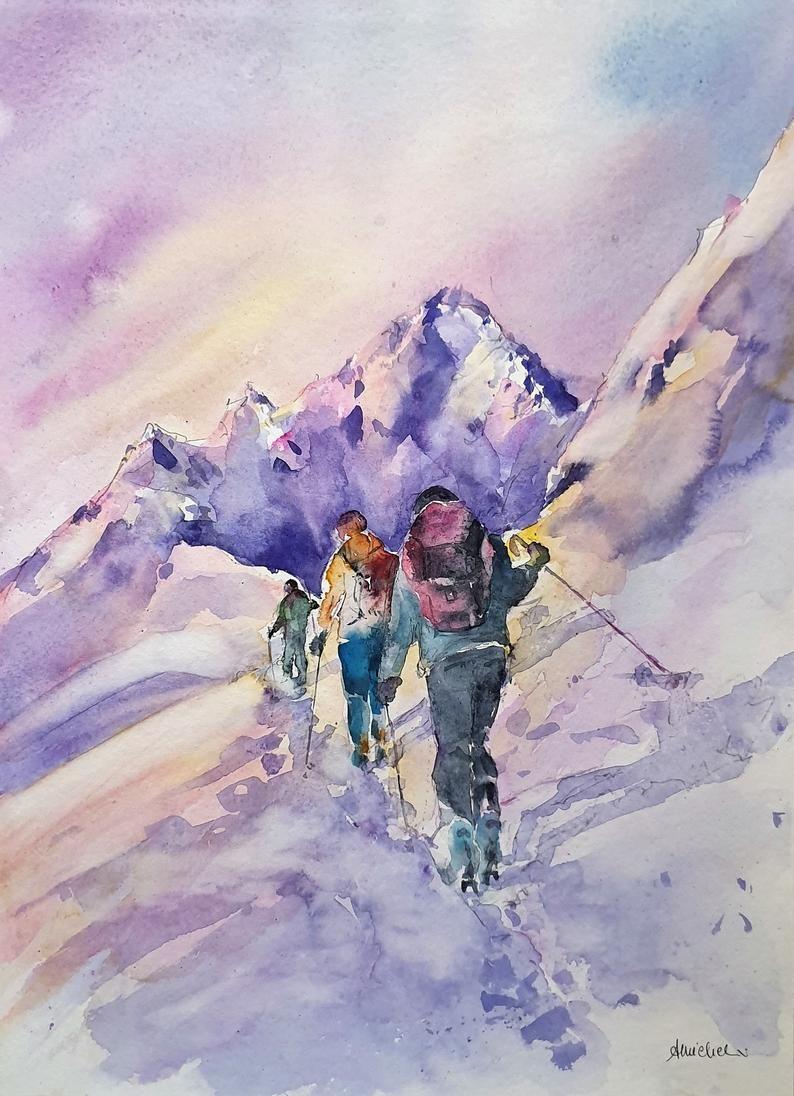 Paisaje De Alpinistas Pintura De Montanas Nevadas Montaneros En Nieve Original Firmada Acuarela Pintura Cm 48 X 36 Cm Pinturas De Montana Montanas Dibujo Acuarela