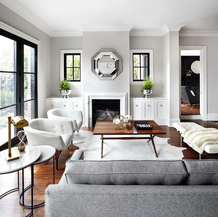 Exceptionnel The Design Company   Living Rooms   Gray Walls, Gray Wall Color, Hardwood  Floors, Marble Fireplace, Marble Fireplace Surround, White Cabinet.