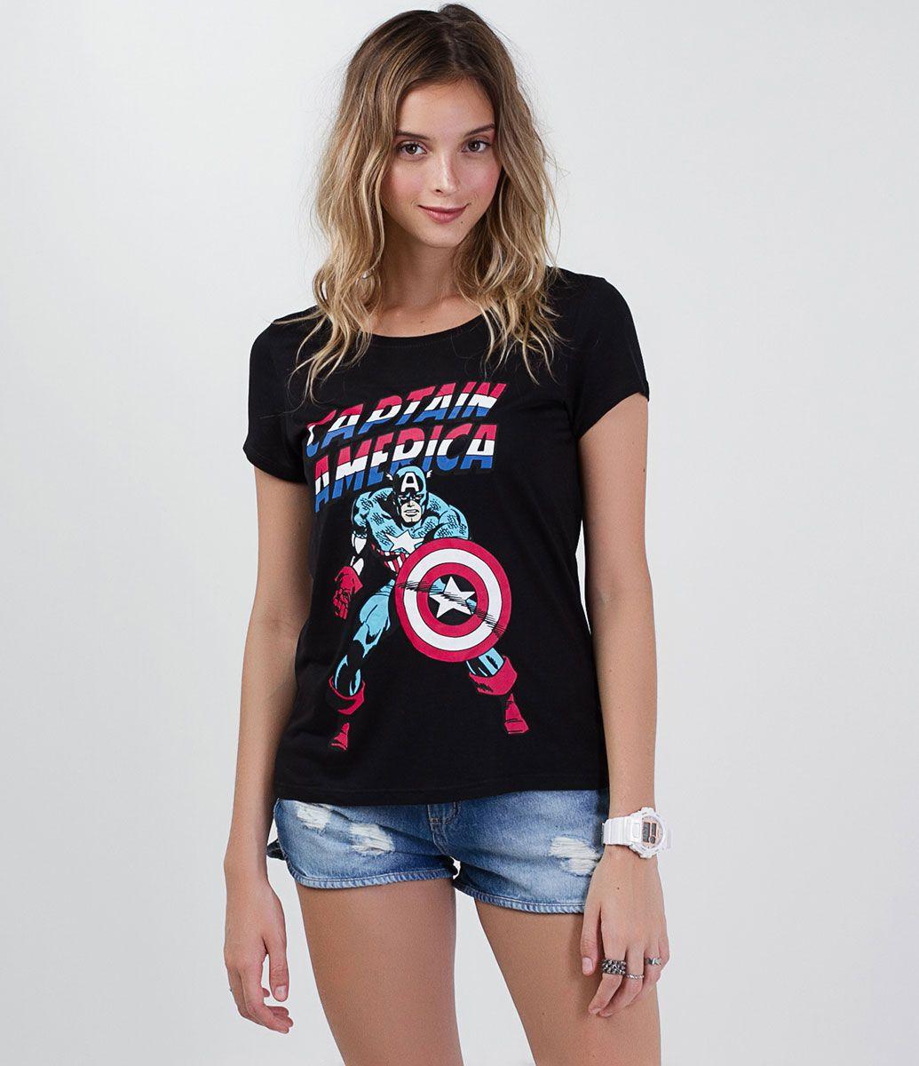 8e5b9bbe0f Blusa feminina Manga curta Gola redonda Com estampa do Capitão América  Marca  Avengers Tecido  viscose Composição  100% viscose Modelo veste  tamanho  P ...