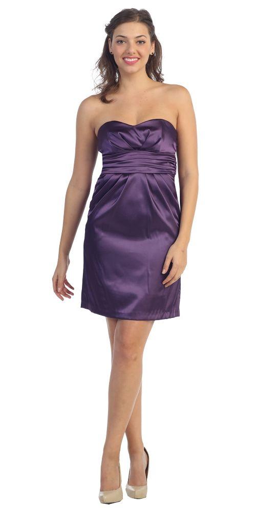 Strapless Sweetheart Short Bridesmaid Eggplant Dress Satin Empire ...