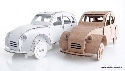 voiture 2cv en carton maquette en carton de l 39 atelier chez soi cardboard car. Black Bedroom Furniture Sets. Home Design Ideas