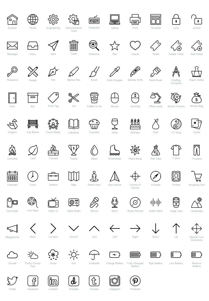 100 Free Psd Icons For Ios Fribly Free Icon Set Resume Icons Doodle Icon